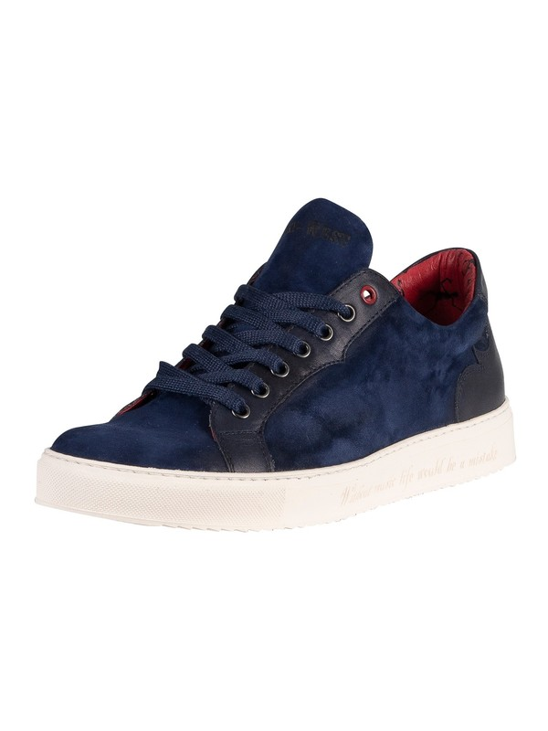 Jeffery West Suede Leather Trainers - Dark Blue