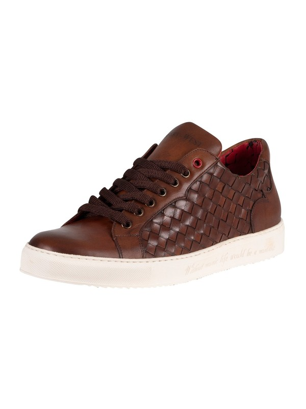 Jeffery West Woven Leather Trainers - Castano