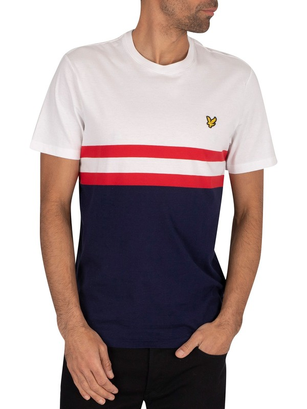 Lyle & Scott Yoke Stripe T-Shirt - White/Navy
