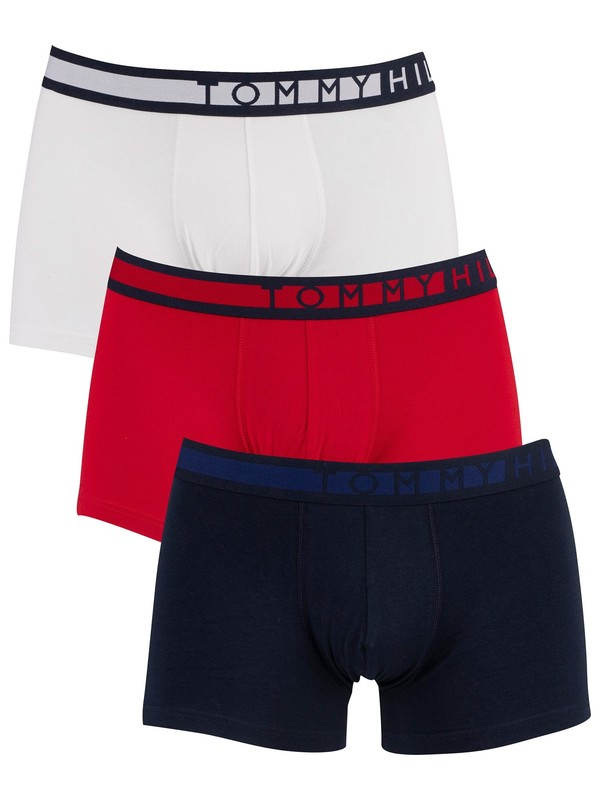 Tommy Hilfiger 3 Pack Trunks - Navy Blazer/Tango Red/White