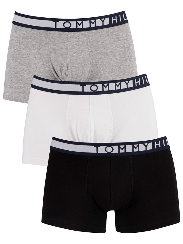 Tommy Hilfiger 3 Pack Trunks - Black/White/Grey Heather