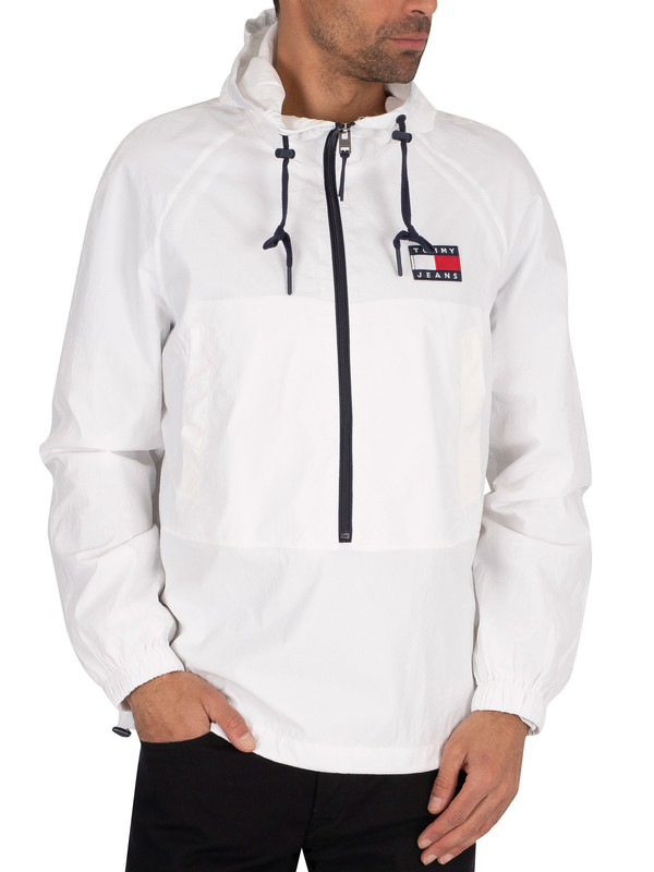 Tommy Jeans Contrast Zip Pullover Hoodie - White