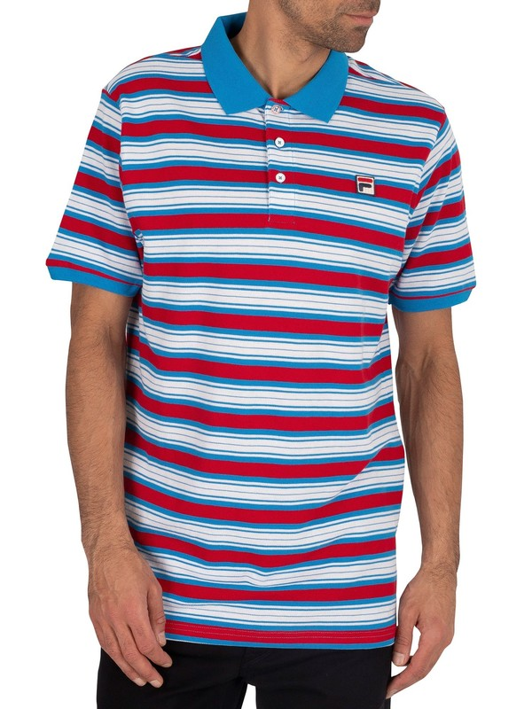 Fila Trey Engineered Stripe Polo Shirt - Blue Aster/White/Red