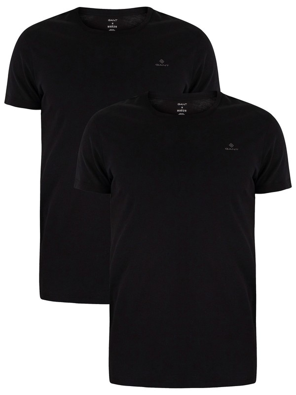 GANT 2 Pack Lounge Crew Neck T-Shirts - Black