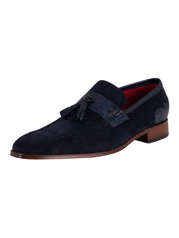 Jeffery West Soprano Suede Tassel Loafers - Dark Blue Velour/Croc