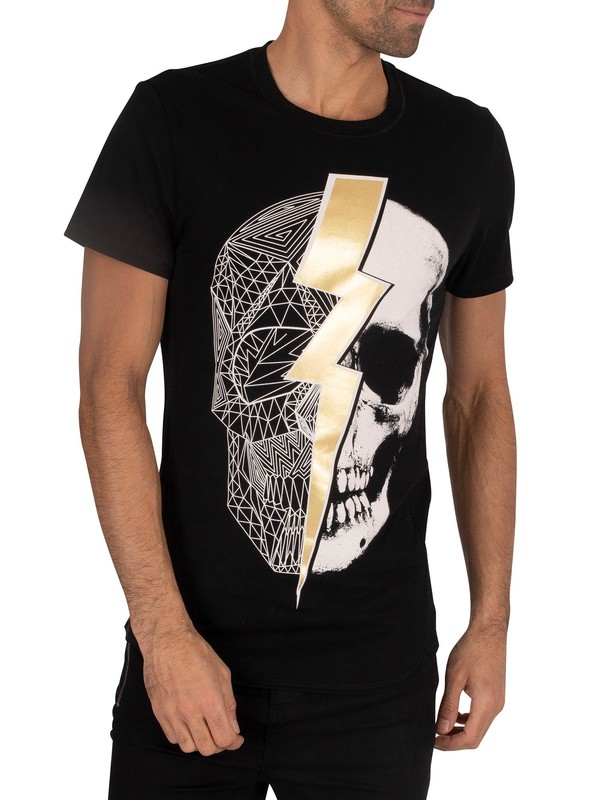 Religion Lightning Skull T-Shirt - Black