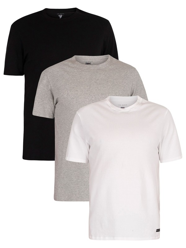 Ted Baker 3 Pack Lounge Crew T-Shirts - Black/Grey/White