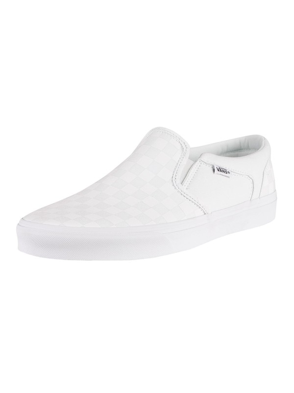 Vans Asher Checkerboard Trainers - White/White