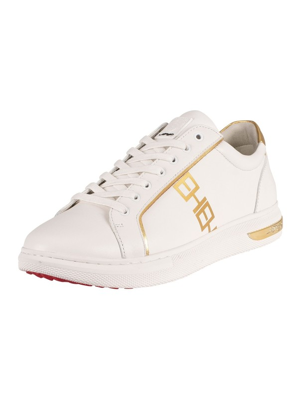 Ed Hardy Mono Low Top Leather Trainers - White/Gold
