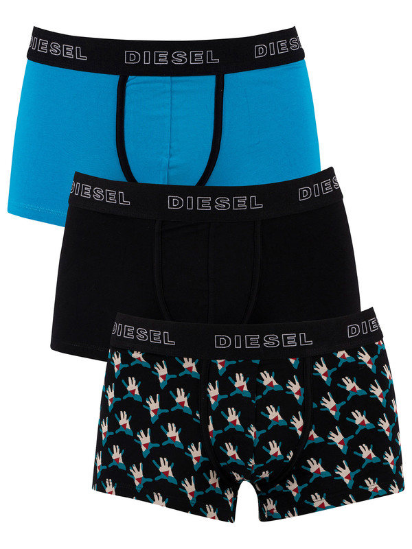 Diesel 3 Pack Damien Trunks - Pattern/Black/Blue