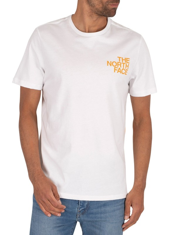 The North Face Graphic Flow T-Shirt - White/Flame Orange