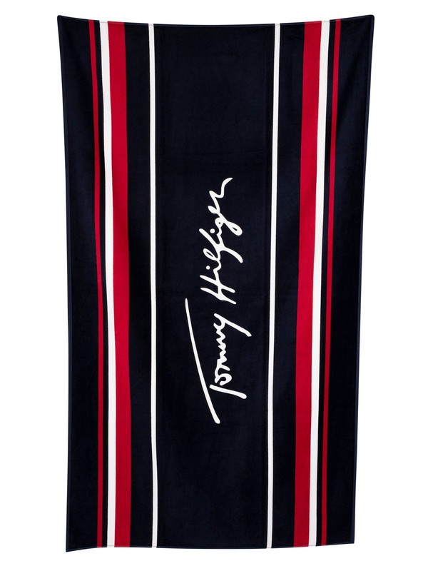Tommy Hilfiger Signature Beach Towel - Navy Blazer