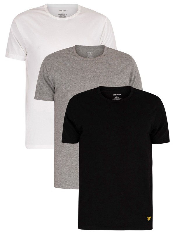 Lyle & Scott 3 Pack Maxwell Lounge Crew T-Shirts - White/Grey/Black
