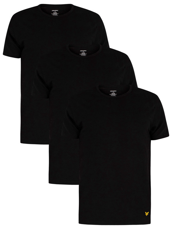 Lyle & Scott 3 Pack Maxwell Lounge Crew T-Shirts - Black