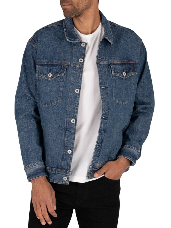Superdry Easy Trucker Jacket - Saddle Worn Blue