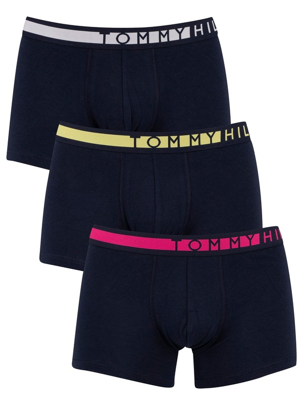 Tommy Hilfiger 3 Pack Trunks - Magenta/Elfin Yellow /White