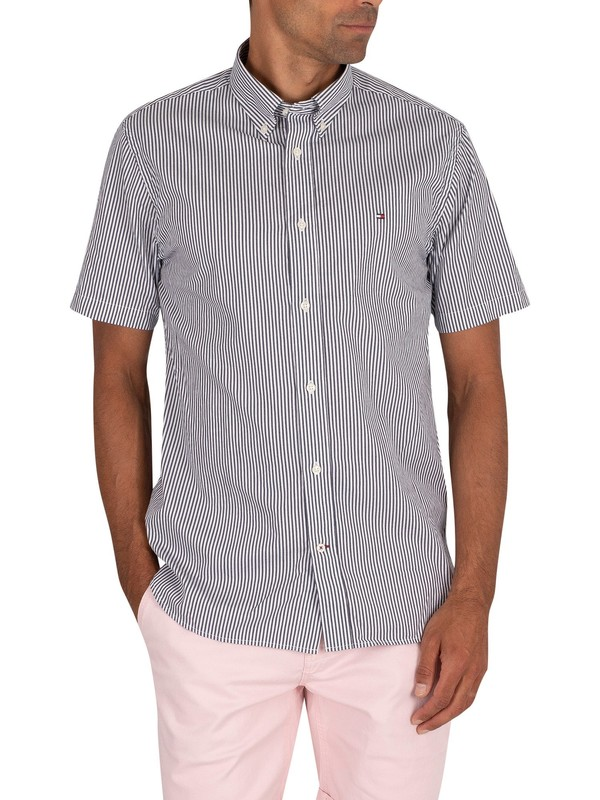 Tommy Hilfiger Classic Twill Stripe Shortsleeved Shirt - Carbon Navy/White