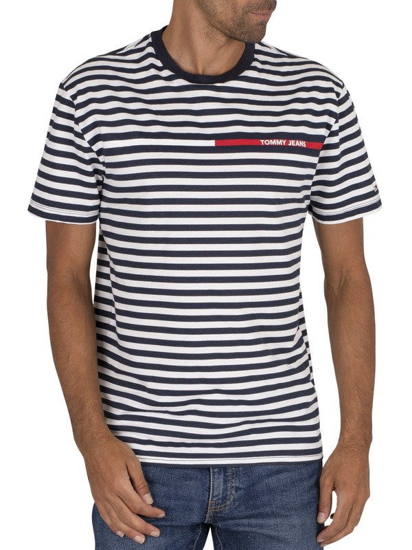 Tommy Jeans Branded Stripe T-Shirt - Twilight Navy/Multi