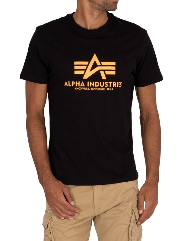 Alpha Industries Logo T-Shirt - Black/Neon Orange