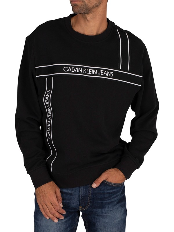Calvin Klein Jeans Logo Tape Fashion Sweatshirt - Black