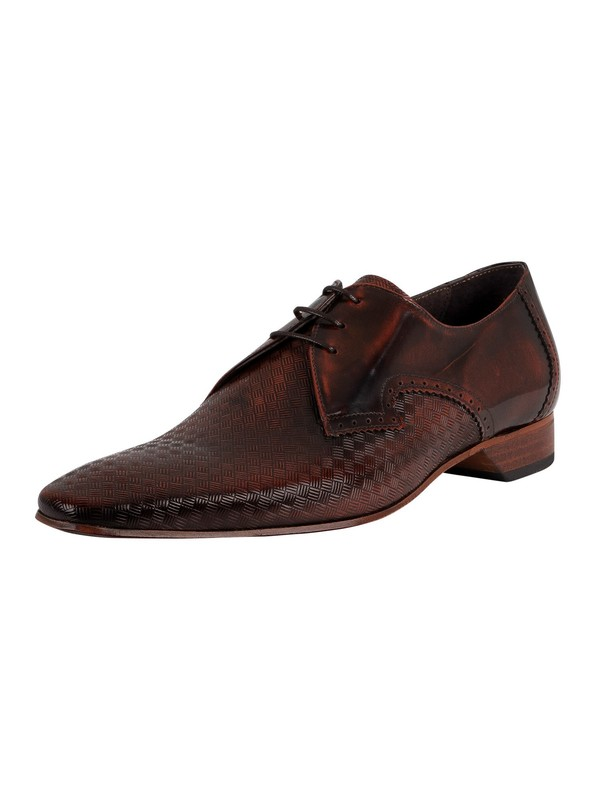 Jeffery West Derby Brogue Leather Shoes - Mid Brown