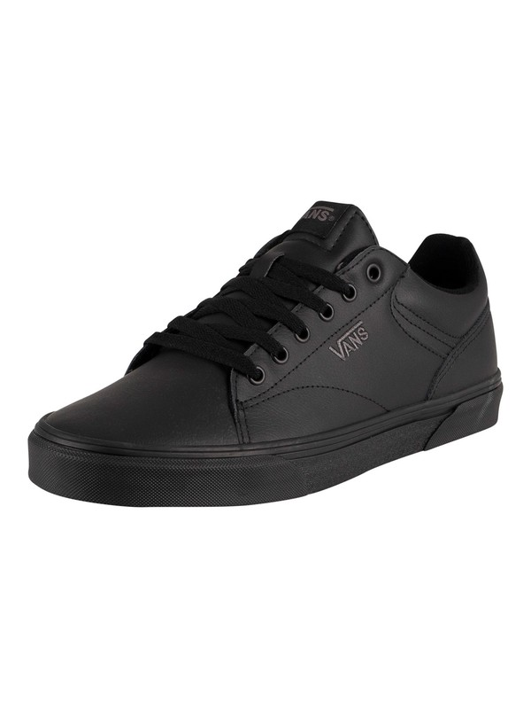 Vans Seldan Tumble Leather Trainers - Black/Black