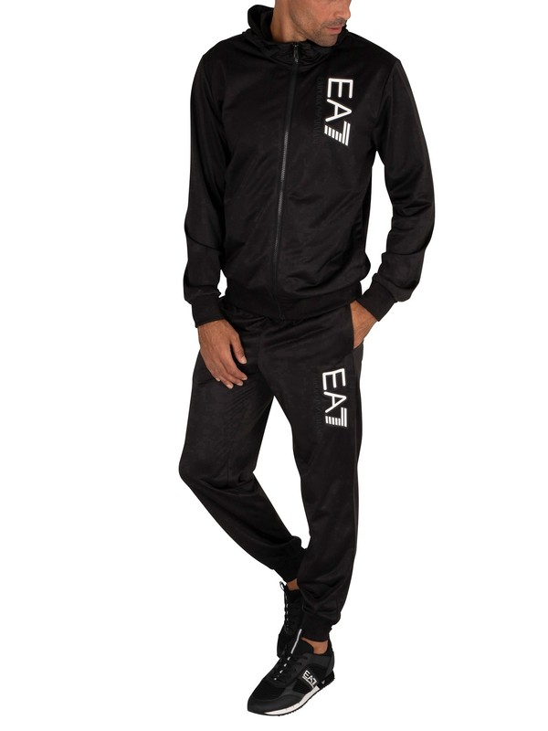 EA7 Logo Hooded Tracksuit - Black