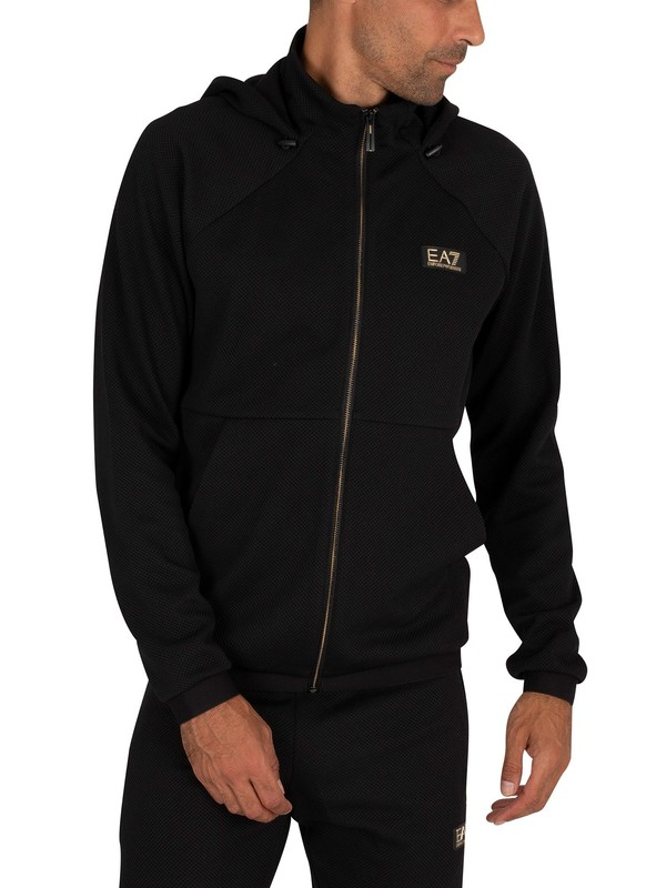EA7 Zip Through Hoodie - Black