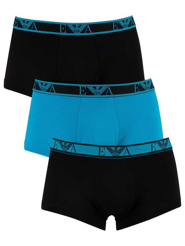 Emporio Armani 3 Pack Trunks - Black/Blue