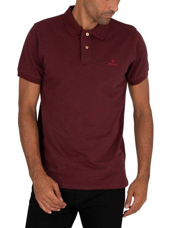 GANT Contrast Collar Pique Rugger Polo Shirt - Dark Burgundy Melange