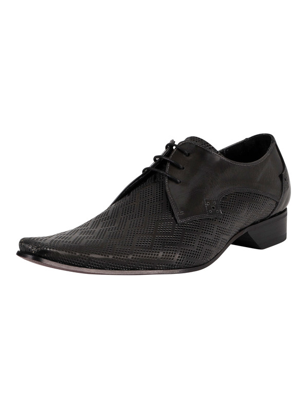 Jeffery West Brogue Derby Leather Shoes - Grey Polished