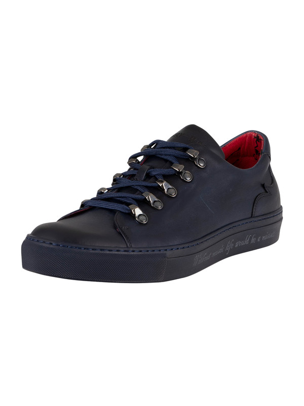Jeffery West Leather Trainers - Dark Blue