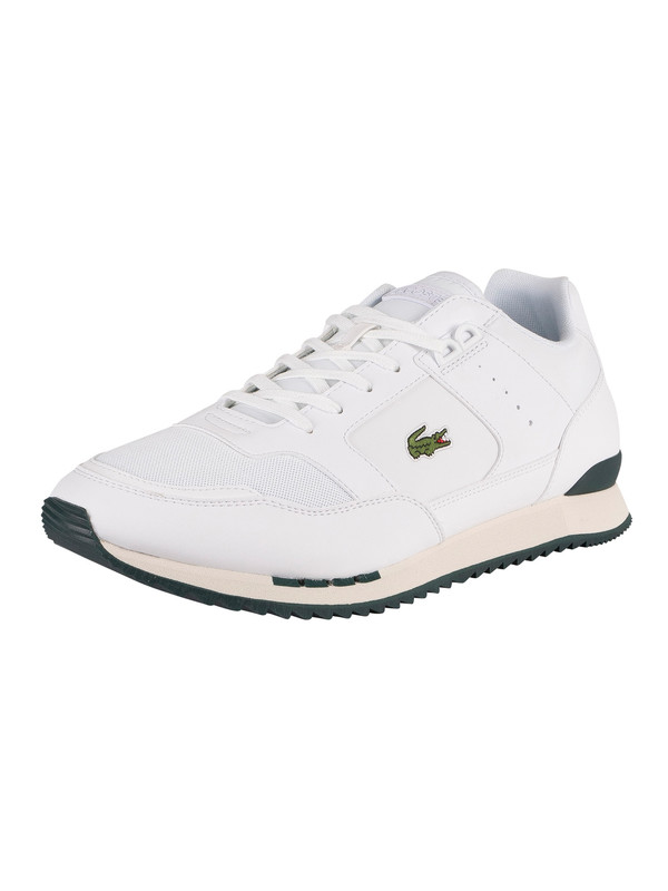 Lacoste Partner Piste 01201 SMA Leather Trainers - White/Dark Green