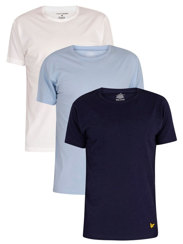 Lyle & Scott 3 Pack Maxwell Lounge Crew T-Shirts - Light Blue/White/Navy