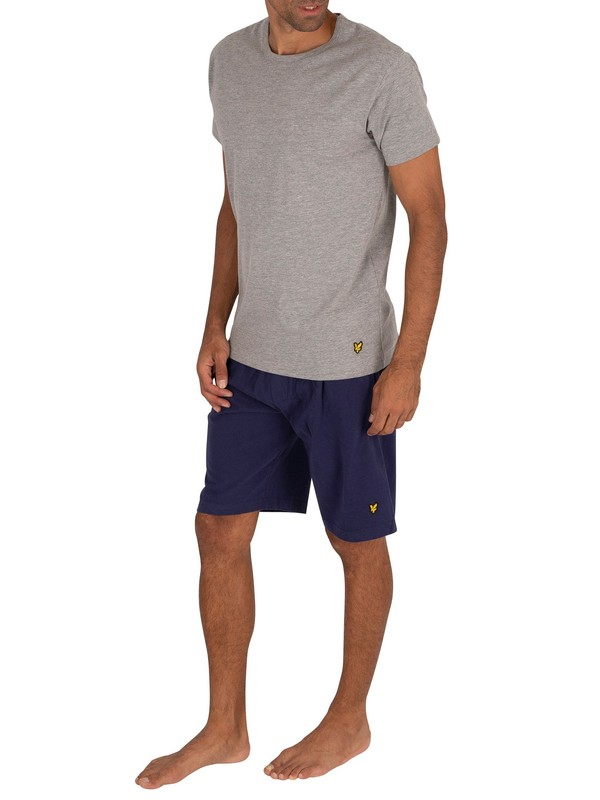 Lyle & Scott Charlie Lounge Pyjama Shorts Set - Grey/Navy