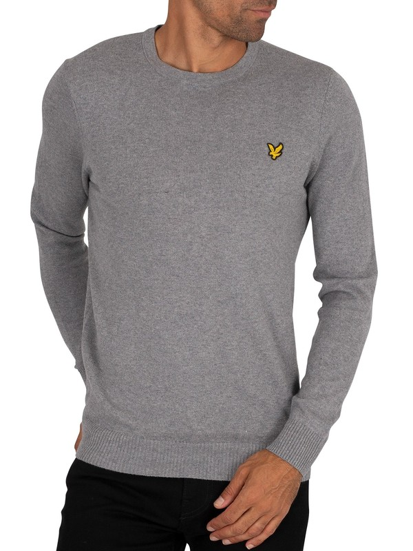 Lyle & Scott Cotton Merino Crew Jumper - Mid Grey Marl