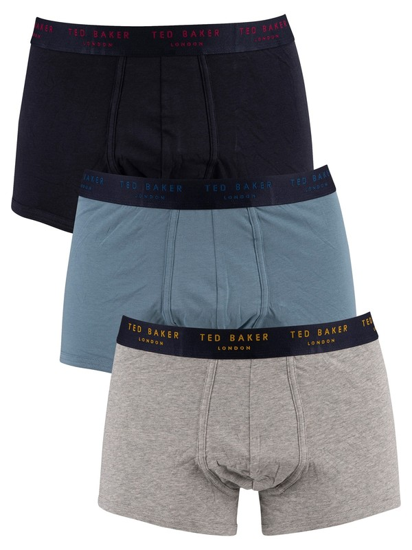 Ted Baker 3 Pack Trunks - Navy/Provicial Blue/Grey Heather