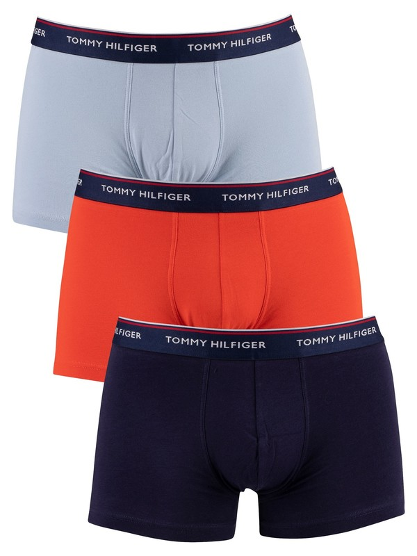 Tommy Hilfiger 3 Pack Premium Essentials Trunks - Navy/Red/Light Blue