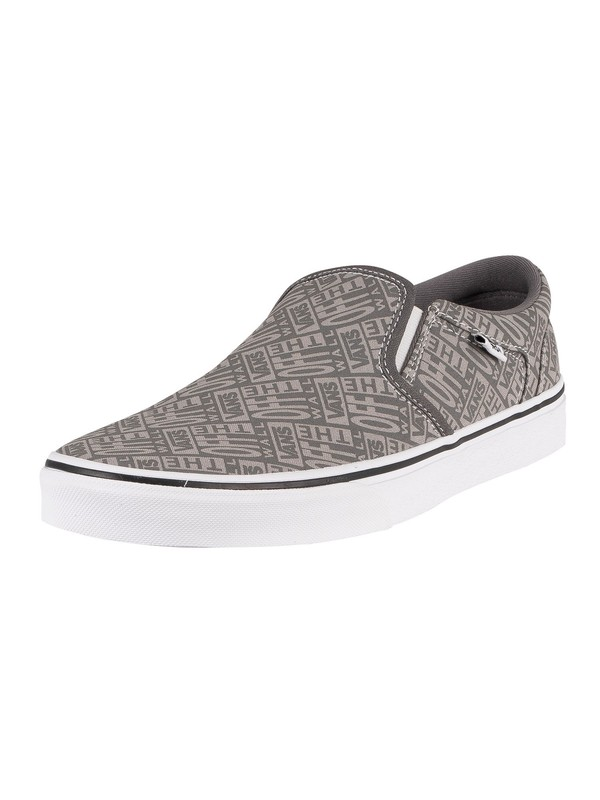 Vans Asher Logo Slip On Trainers - Pewter/White