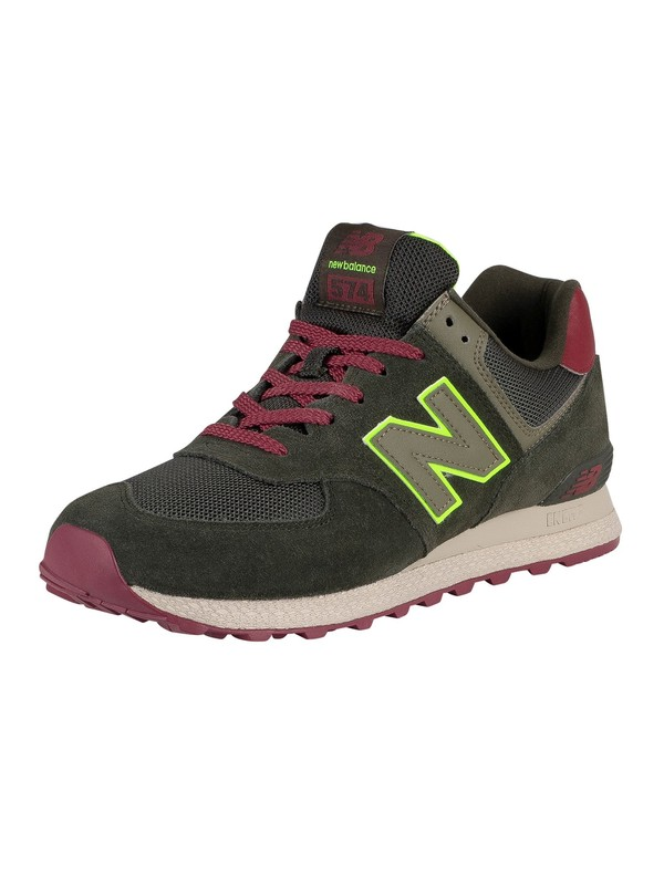 New Balance 574 Suede Trainers - Dark Olive/Energy Lime