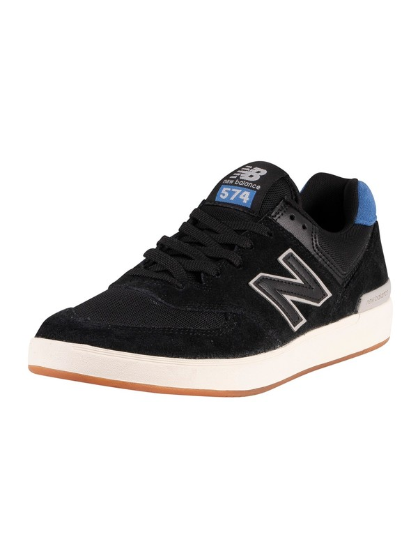 New Balance All Coasts AM574 Suede Trainers - Black/Cobalt Blue