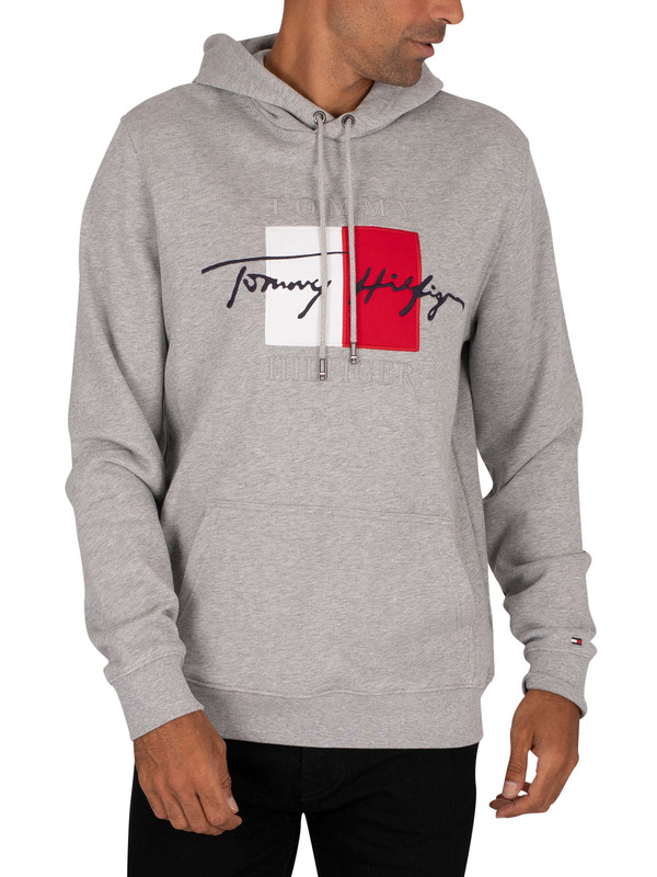 Tommy Hilfiger Signature Artwork Pullover Hoodie - Medium Grey Heather