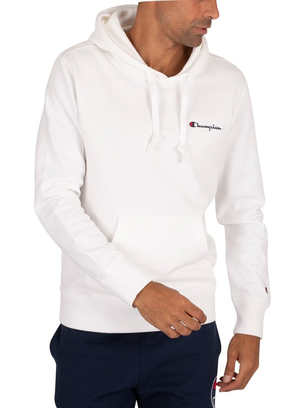 Champion Chest Logo Pullover Hoodie - White