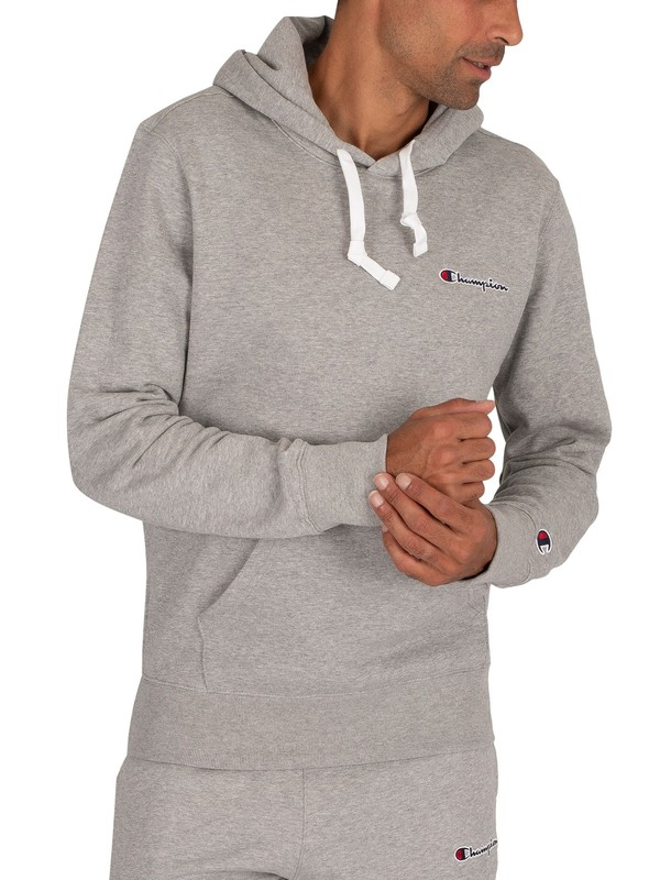 Champion Chest Logo Pullover Hoodie - Grey