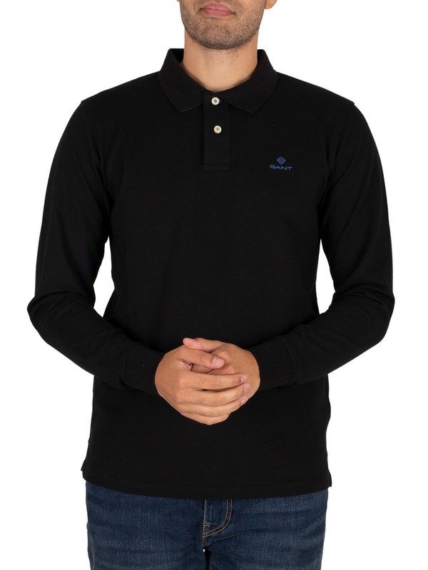 GANT Contrast Collar Pique Longsleeved Polo Shirt - Black