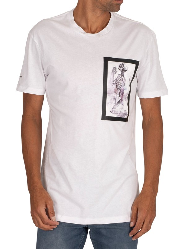 Religion Skeleton Paint Bondage T-Shirt - White