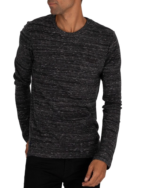 Superdry Vintage EMB Longsleeved T-Shirt - Winter Black Space Dye