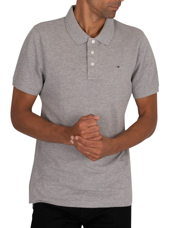 Tommy Jeans Original Fine Slim Polo Shirt - Light Grey Heather