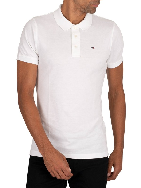 Tommy Jeans Original Fine Slim Polo Shirt - Classic White