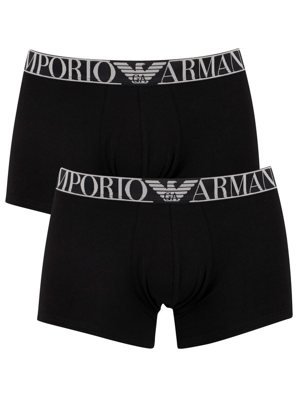 Emporio Armani 2 Pack Endurance Trunks - Black/Black